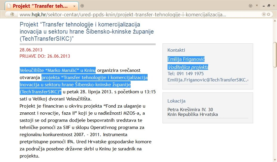 TechTransferSIKC --> 'Croatian Chamber of Economy Office for Areas of Special State Concern - Knin' <-- 28th June 2013